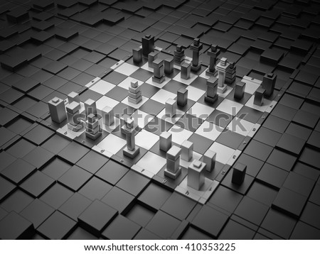 Scholar's mate. 3d chess board with figures. The concept design of futuristic chess figures and checkerboard.  - stock photo