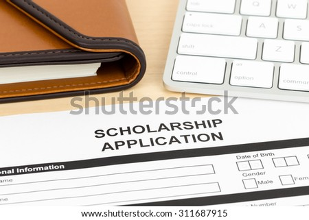 Scholarship Application Form Keyboard Pen Stock Photo 322338626