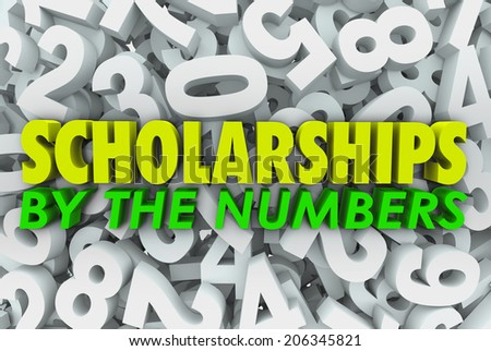Scholarship by Numbers School College University Financial Aid Chances Odds - stock photo