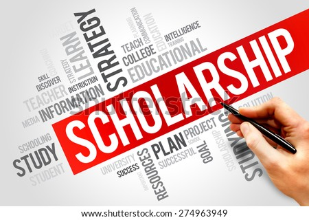 Scholarship word cloud, education concept - stock photo