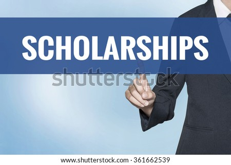 Scholarships word on virtual screen touch by business woman blue background - stock photo