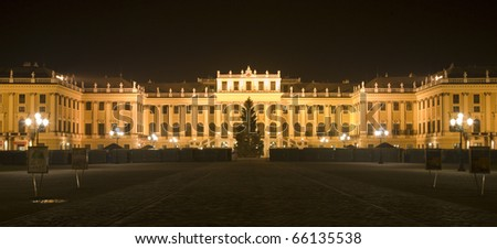 schonbrunn palace and christmas-market in vienna - stock photo