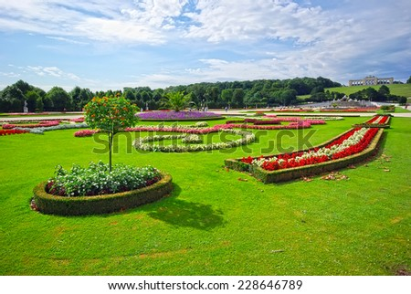 Schonbrunn palace gardens in Vienna, Austria. - stock photo