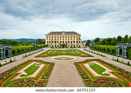 Schonbrunn Palace in Vienna, Austria.  It's former imperial summer residence located in Vienna, Austria. Baroque palace is one of the most important architectural, historical monuments in the country - stock photo
