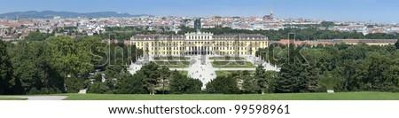 Schonbrunn Palace Panorama, Vienna, Austria - stock photo