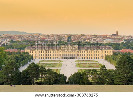 Schonbrunn Palace with gardens, Vienna, Austria. The former imperial summer residence is a UNESCO World Heritage site and Austria's most-visited tourist attraction - stock photo