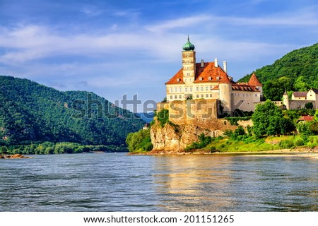 Schonbuehel castle, Danube river, Austria - stock photo