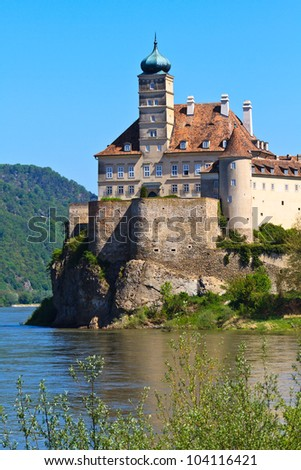 Schonbuhel Castle on the Danube river, Wachau Valley, Austria - stock photo