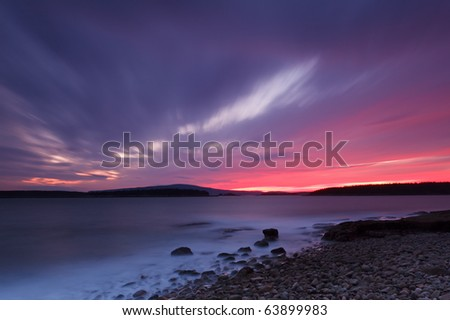 Schoodic head, acadia national park sunset - stock photo