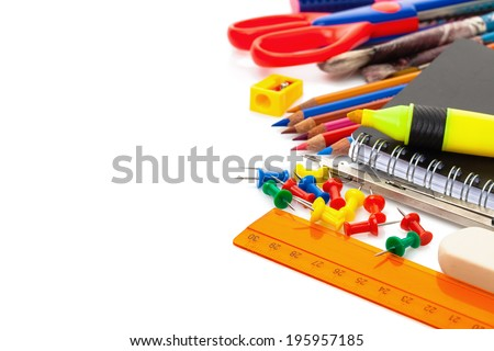 school accessories isolated over white - stock photo