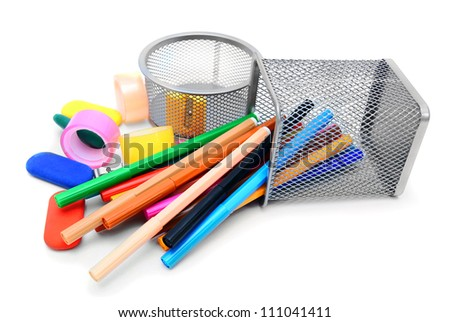 School accessories. On a white background.