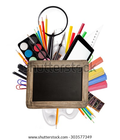 School accessories placed on white background with blank blackboard for copyspace. Concept of education and start of new school year
