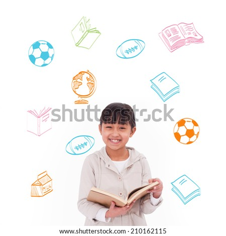 School activity doodles against cute pupil reading - stock photo