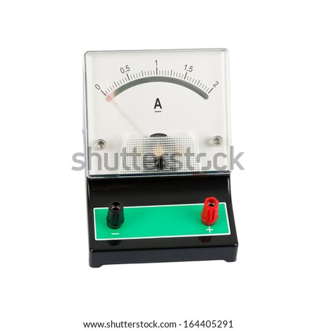School ampermeter - isolated on a white background  - stock photo