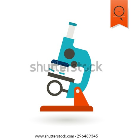 School and Education Icon - Microscope.  Illustration. Flat design style - stock photo