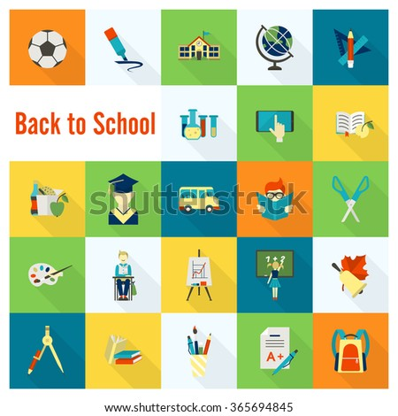 School and Education Icons - stock photo