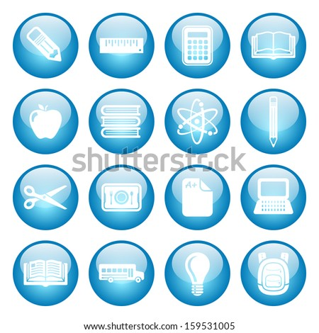 School and Education Icons Glass Button Icon Set.  Raster version. - stock photo