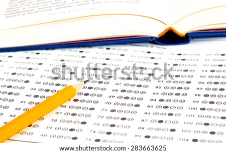 School and Education. Test score sheet with answers - stock photo