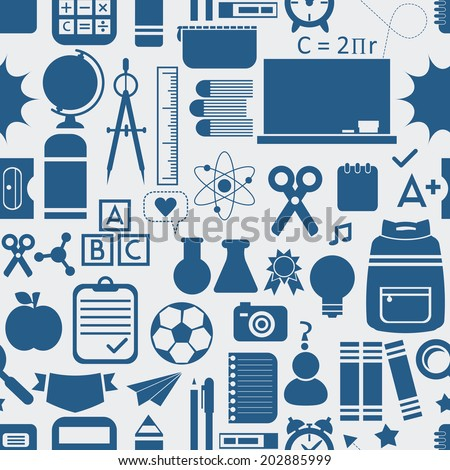 School and educational, icons, background, and seamless pattern- Blue silhouette on light gray background - stock photo