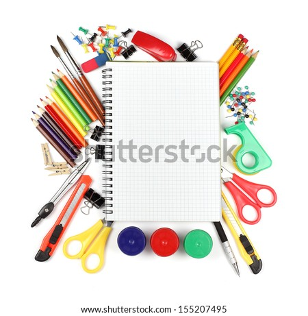 School and office supplies, booklet, paint, pencils isolated on white background - stock photo