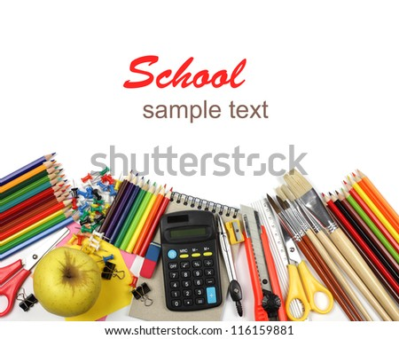 School and office supplies, calculator, notebook isolated on white background.