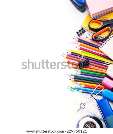 School and office supplies frame Isolated on white - stock photo