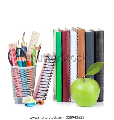 School Office Supplies Notepads Colorful Pencils Stock