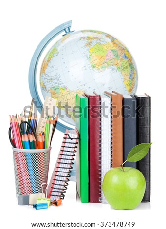 School and office supplies. Notepads, colorful pencils, globe and apple. Isolated on white background - stock photo