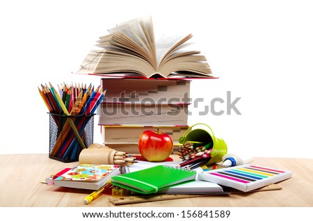 School and office supplies on a wooden table. Back to school.