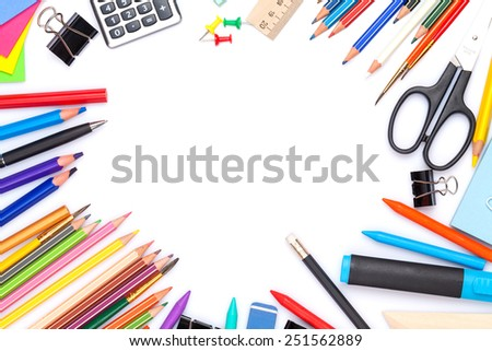 School and office supplies. Top view. Isolated on white background with copy space - stock photo
