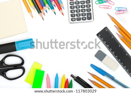School and office tools. Isolated on white background - stock photo
