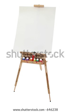 School art easel, washable paints and brushes.  Blank poster board canvas for adding text.  Shot in studio over white. - stock photo