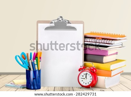 School, back, isolated. - stock photo