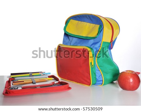 school back pack - stock photo