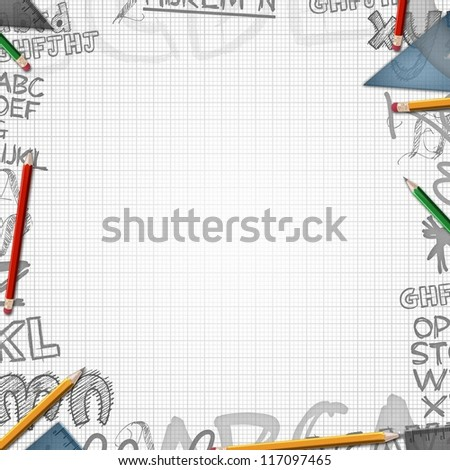 school background with letters illustration - stock photo