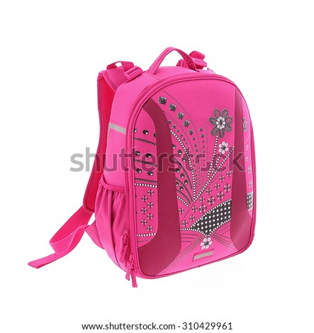 school backpack isolated on a white background - stock photo