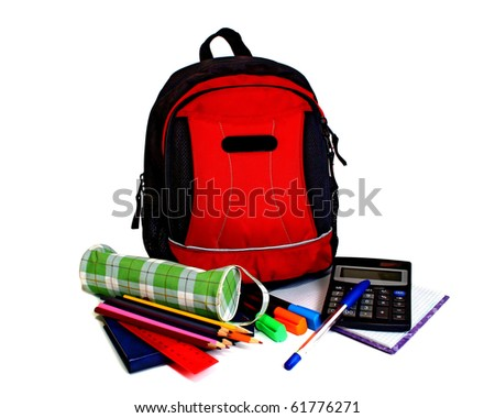 school backpack isolated on white background - stock photo