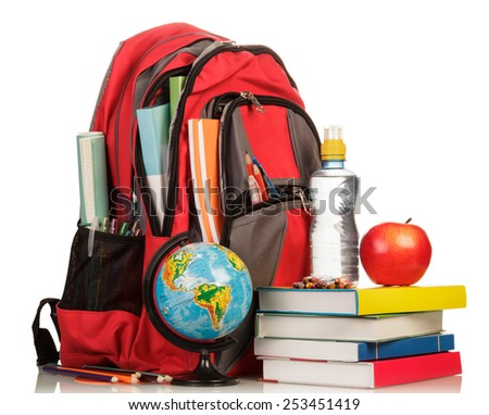 School Backpack with school supplies on white background - stock photo