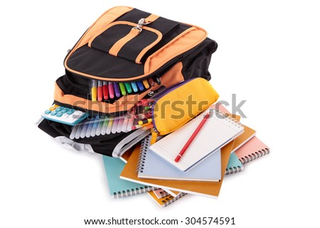 School bag, pencil case, books and equipment isolated on white background - stock photo