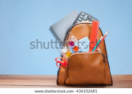 School bag with clerical set - stock photo