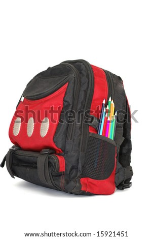 school bag with colored pencils - stock photo