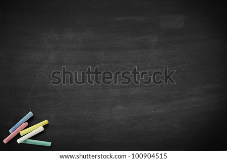 School blackboard or chalkboard with chalk - stock photo