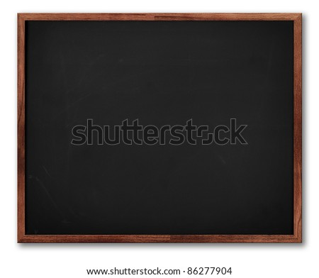 School blackboard with a brown wooden frame. With Shadow. Isolated on white.