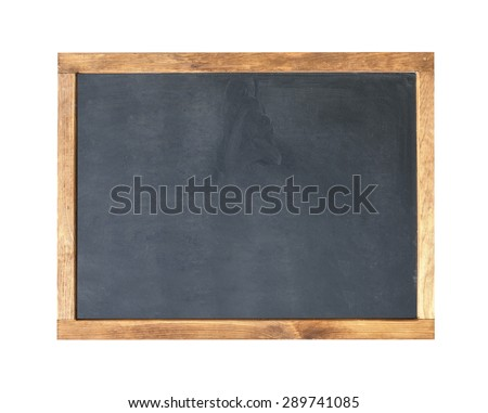School board. Blank empty frame blackboard, with chalk traces. - stock photo