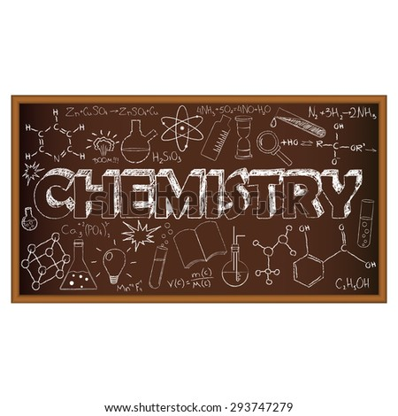 School board doodle with chemistry symbols. Illustration. Set of education and learning doodles with school objects. - stock photo