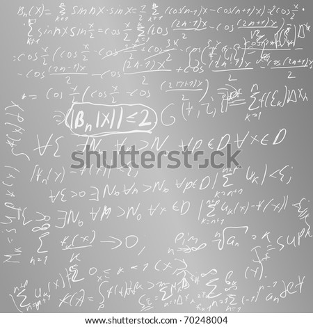 School board with formulas and schedules on algebra. Look for vector version at my portfolio. - stock photo