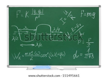 School board with inscriptions (formulas on the physicist) on a white background. - stock photo