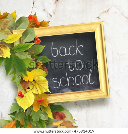 "school board with the inscription ""Back to school"" and a bouquet of autumn leaves on wooden background. School background"