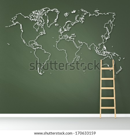School board with world map in the interior. Elements of this image furnished by NASA - stock photo