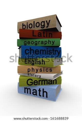 school books - stock photo